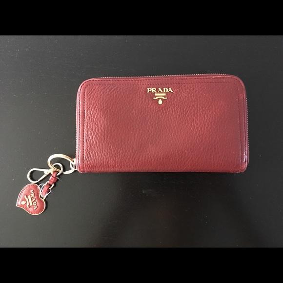 09397f7ab058 Prada Bags | Saffiano Metal Oro Wallet Keychain Fuoco Red | Poshmark